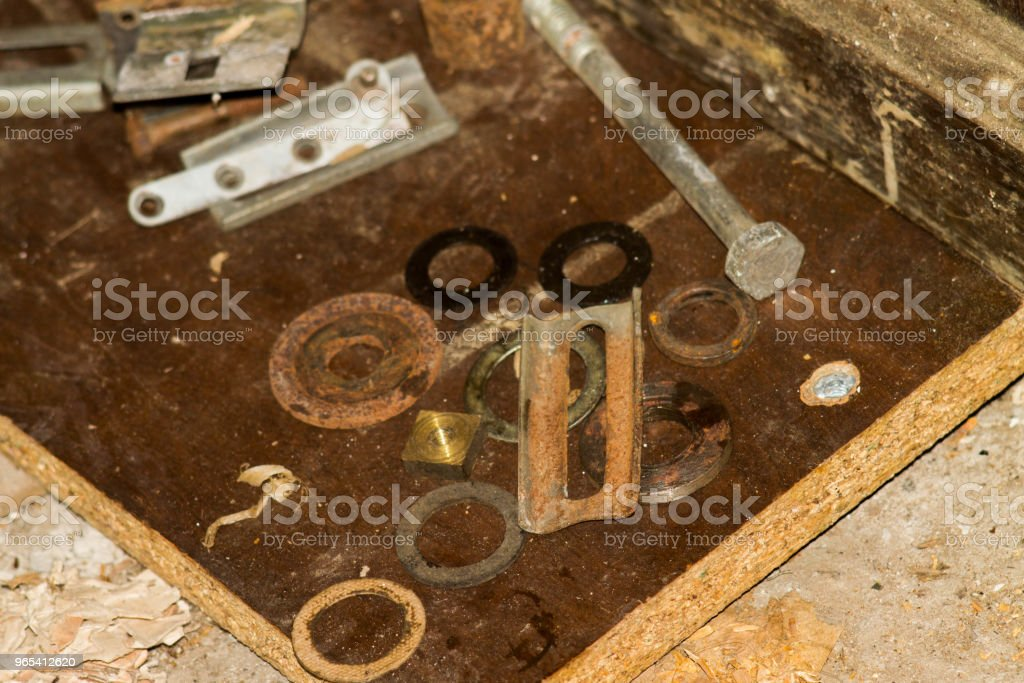 Closeup of several useful tools in the garage viewed from above zbiór zdjęć royalty-free