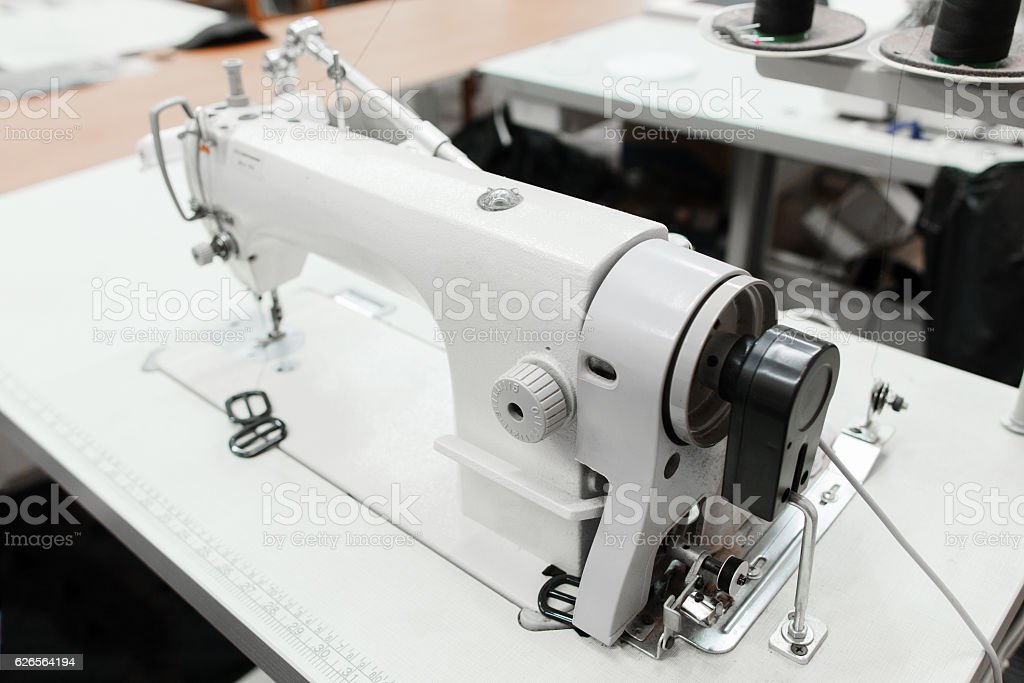 Close-up of sewing machine in workshop stock photo