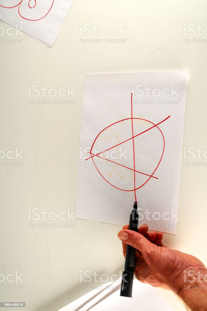 Close-up of sheet with drawing anarchy symbol royalty-free stock photo