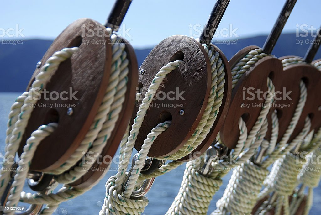 Close-up of ship rigging wires stock photo