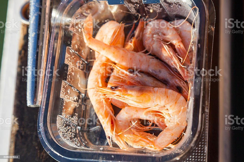 Close-up of shrimps in plastic box stock photo