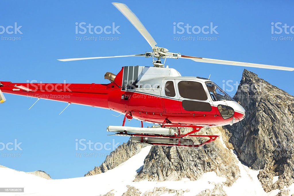 Close-up of Sightseeing helicopter over Glacier Bay royalty-free stock photo