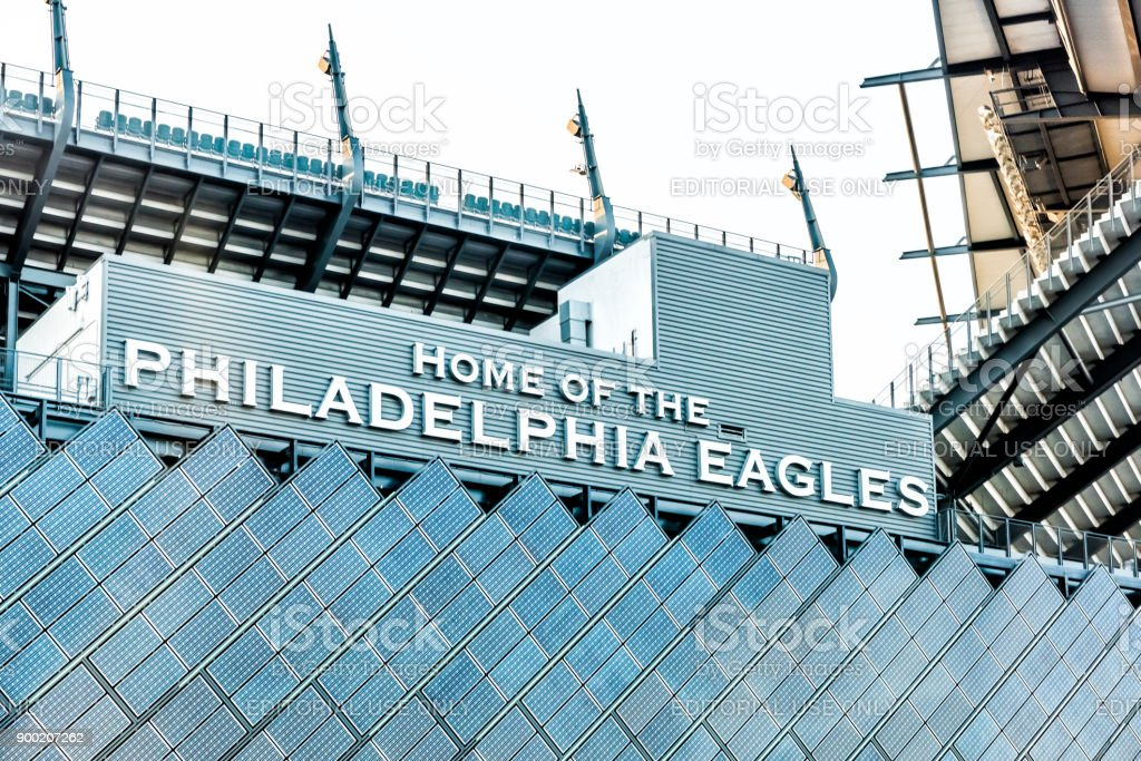 Closeup of sign for Lincoln Financial Field stadium, home of eagles with bleachers seats stock photo