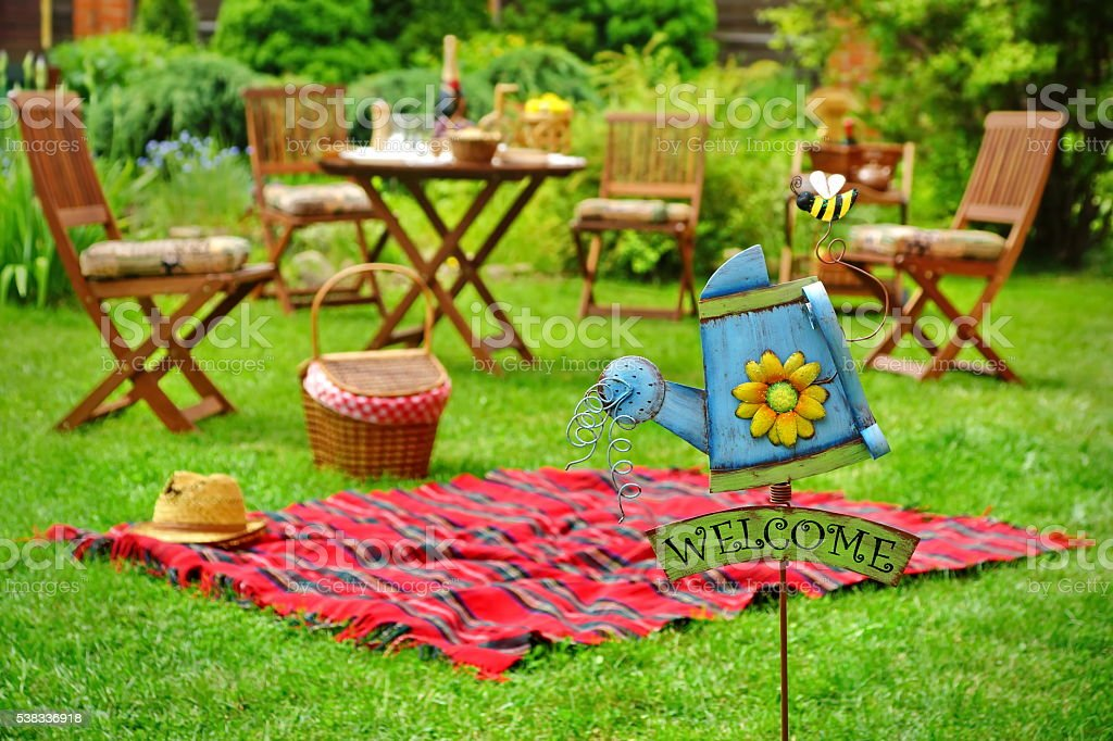 Close Up Of Sign Welcome And Backyard Party Or Picnic Scene Royalty Free Stock