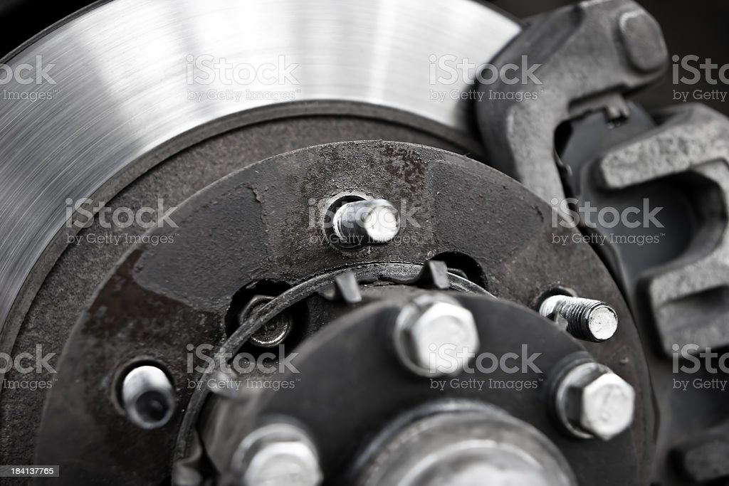 Close-up of silver and black car brakes stock photo