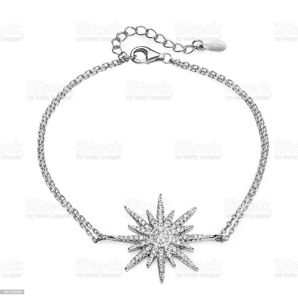 Close-up of silver bracelet with diamonds stock photo