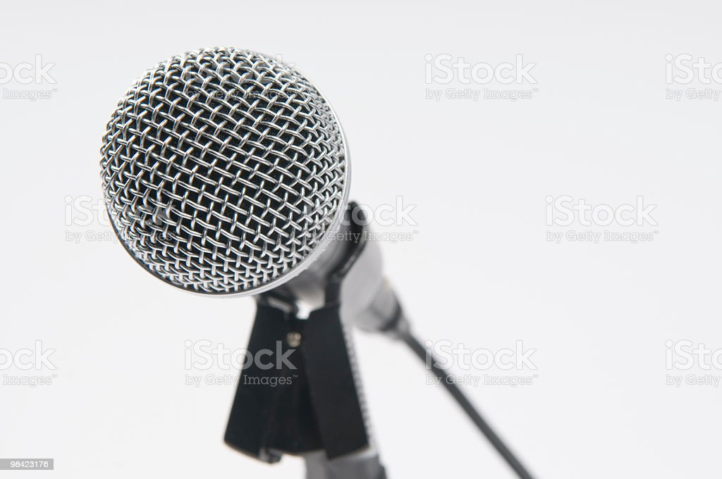 Close-up of Silver Microphone royalty-free stock photo
