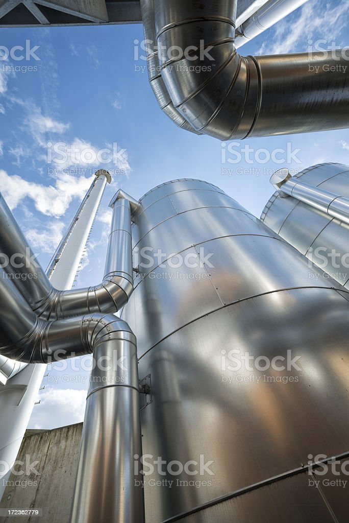 A close-up of silver pipes in Germany stock photo
