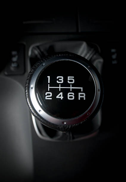 Close-up of six speed manual gear stick in a car stock photo