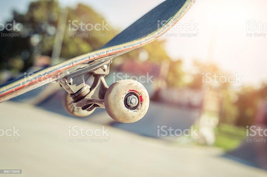 Close-up of skateboard in skatepark stock photo