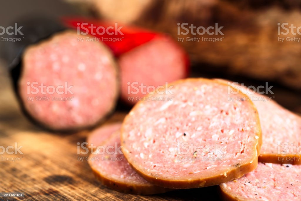 Close-up of sliced sausage royalty-free stock photo
