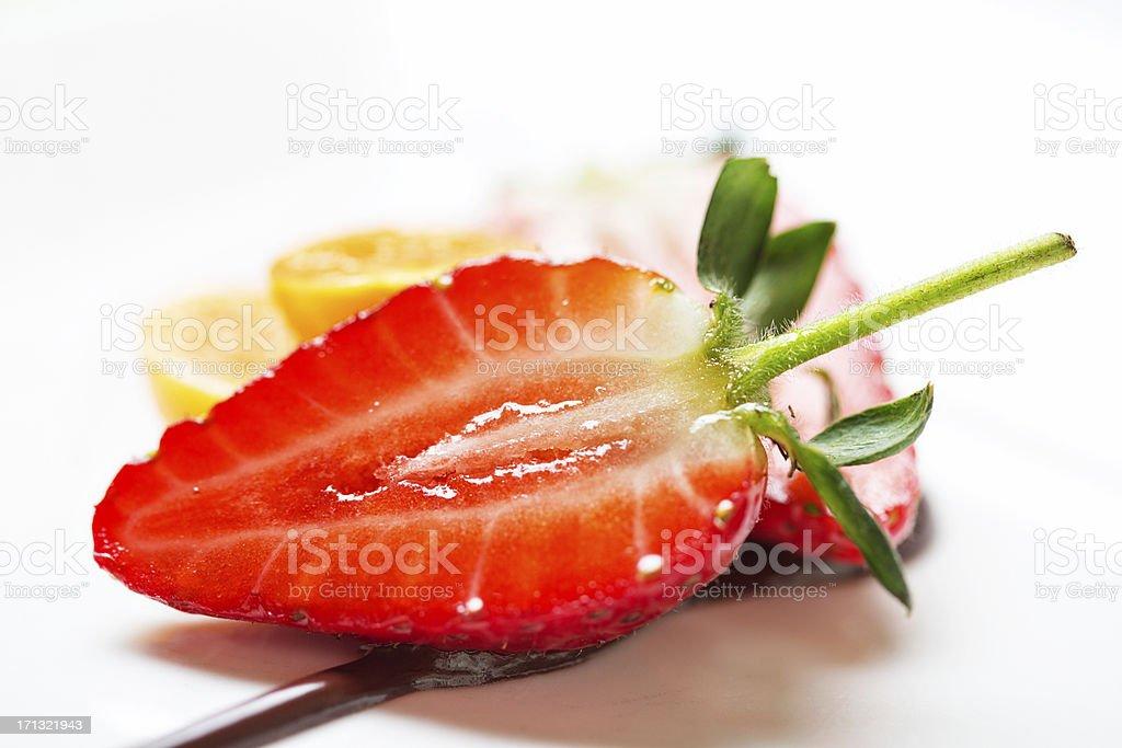 Close-up of sliced strawberry fruit dessert royalty-free stock photo