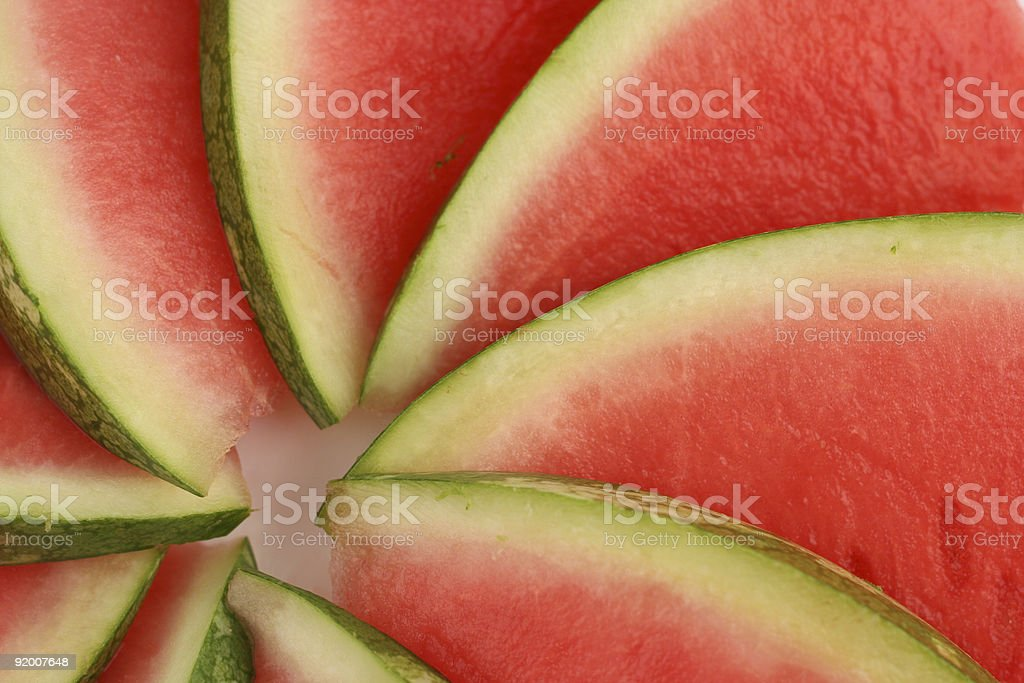 Close-up of sliced watermelon display royalty-free stock photo
