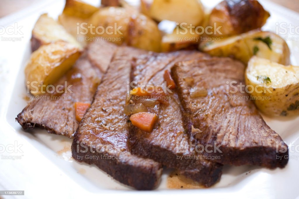 Close-up of slices of beef with potatoes royalty-free stock photo