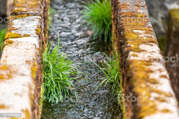 Photo of Closeup of small stone canal metal in Takayama, Japan, Gifu prefecture with river water flowing in mountain city with green grass and moss