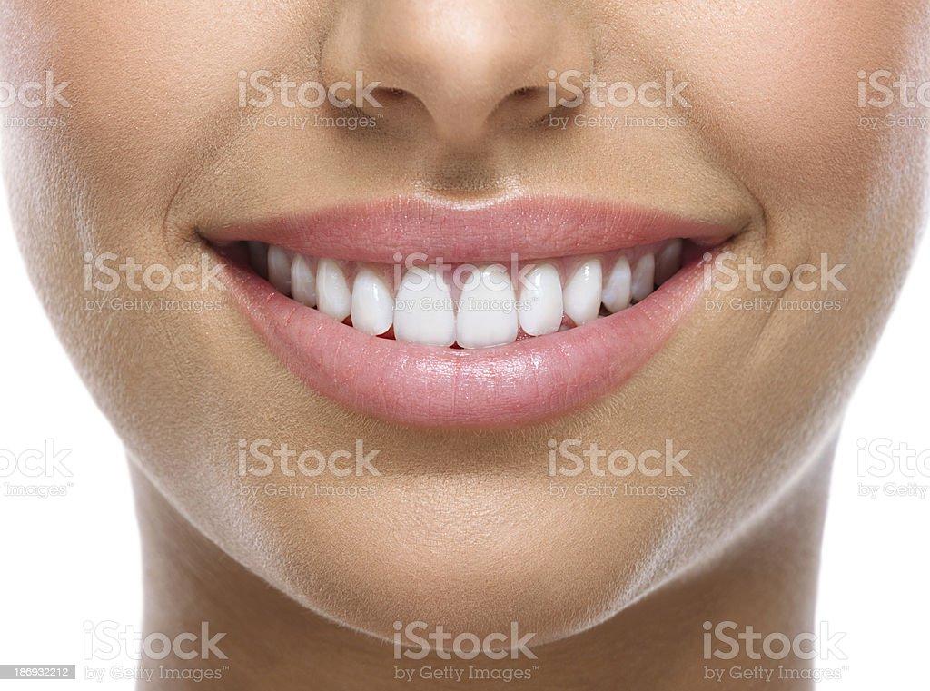 closeup of smile with white teeth royalty-free stock photo