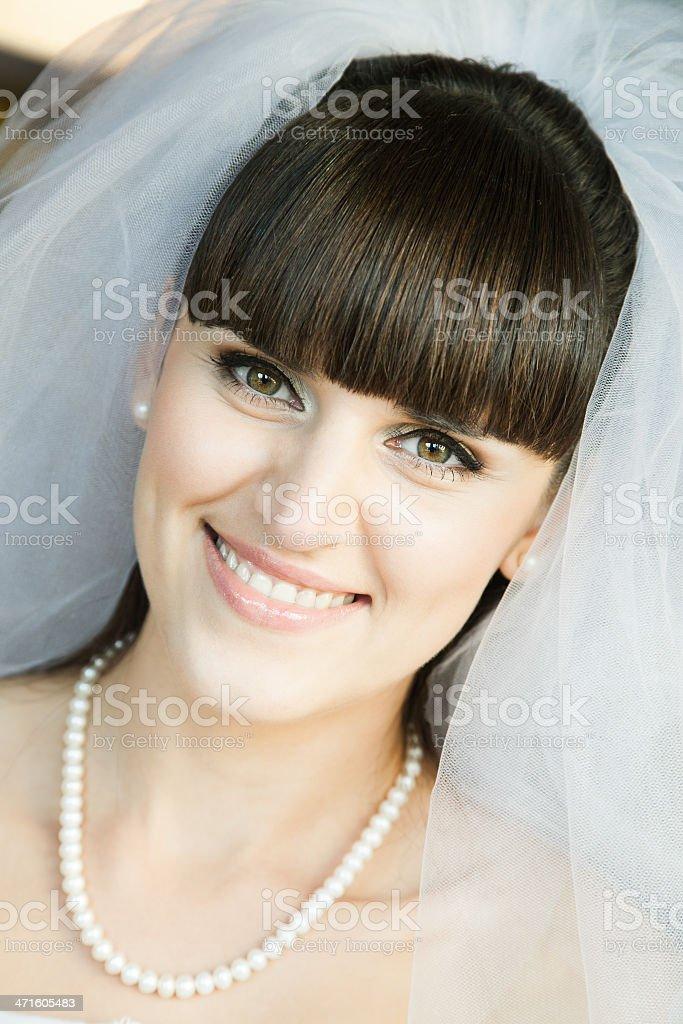 closeup of smiling bride royalty-free stock photo