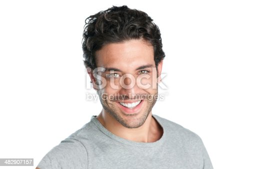Closeup of happy smiling guy looking at camera isolated on white background.