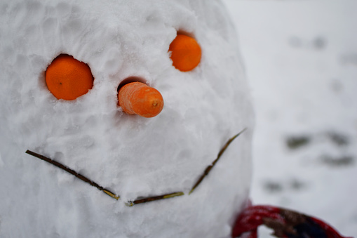 Closeup of smiling snowman face
