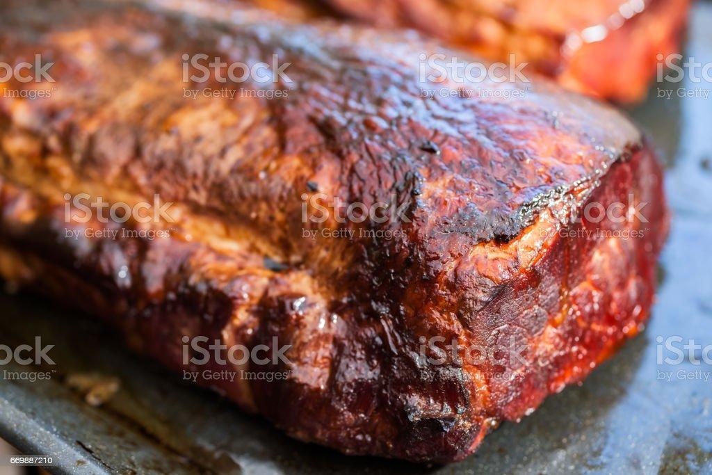 Close-up of smoked boneless pork chop stock photo