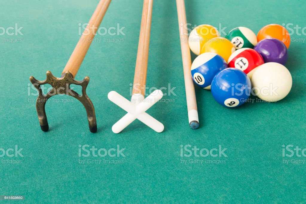 Closeup of snooker billards balls, cue and extender stick stock photo