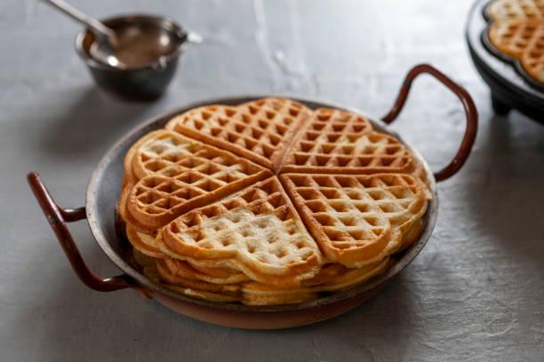 Close-up de Waffles e Waffles Soft Viennese - foto de acervo
