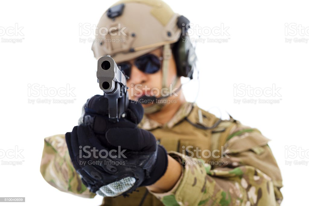 closeup of  soldier with a gun isolated on white background stock photo