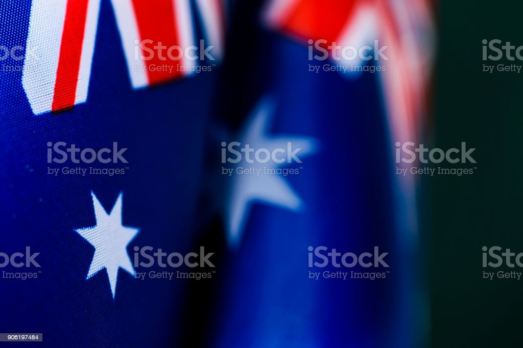 closeup of some australian flags stock photo