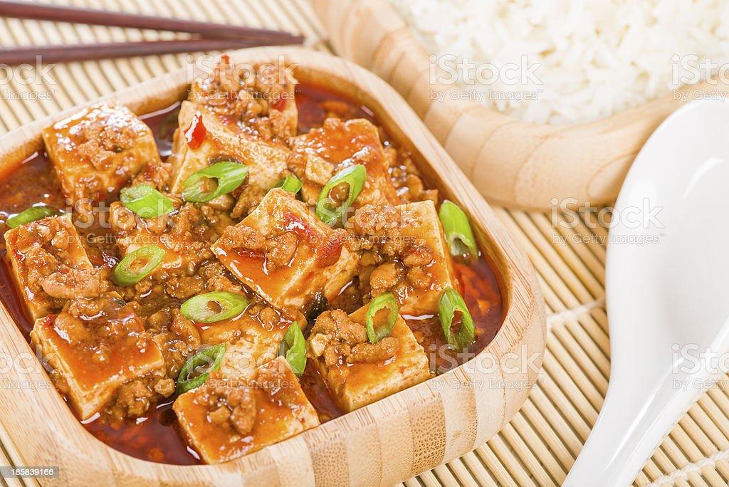 Close-up of some freshly prepared Mapo Tofu royalty-free stock photo