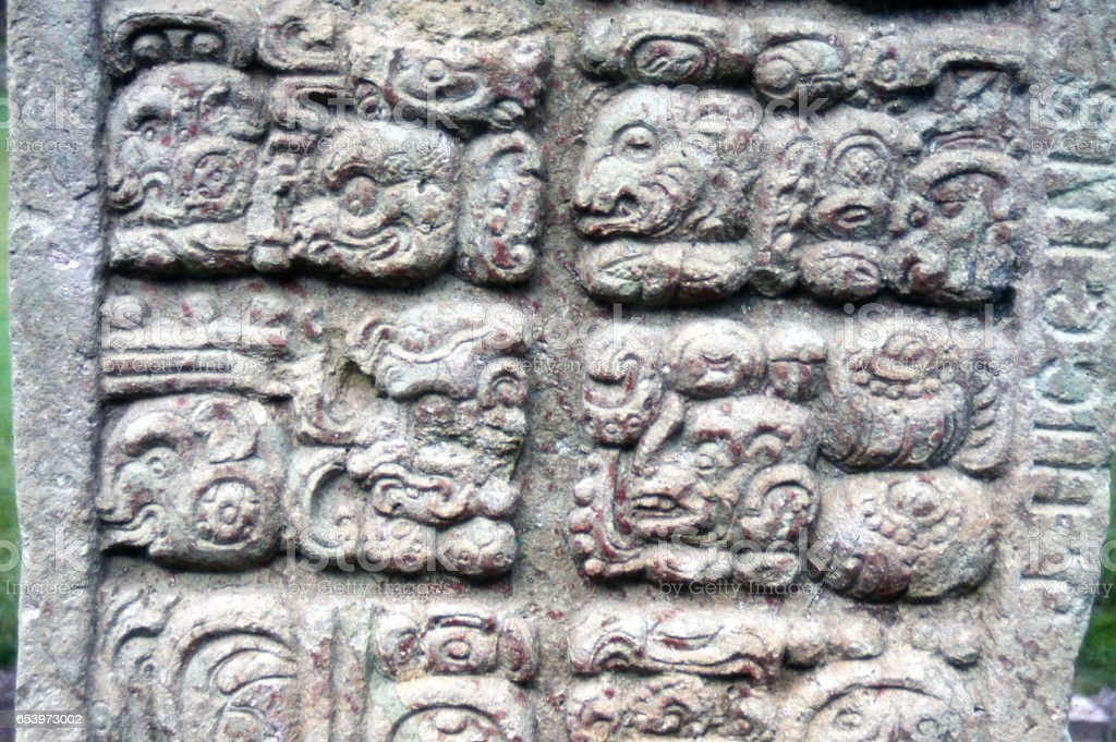Closeup Of Some Mayan Hieroglyphics On Stele Or Monument To