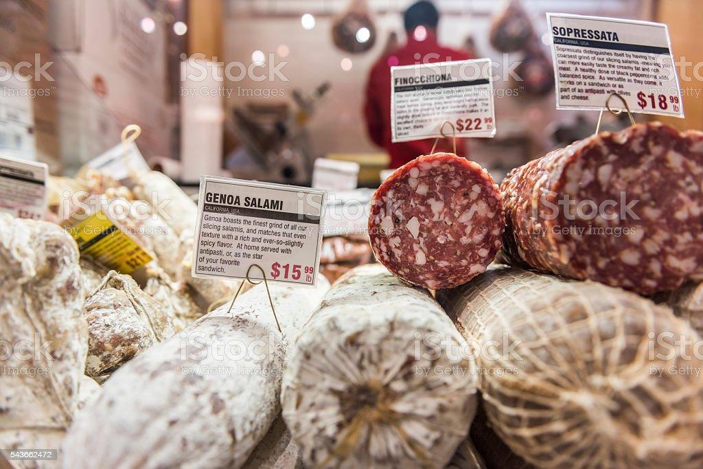 Closeup of sopressata and genoa salami stock photo