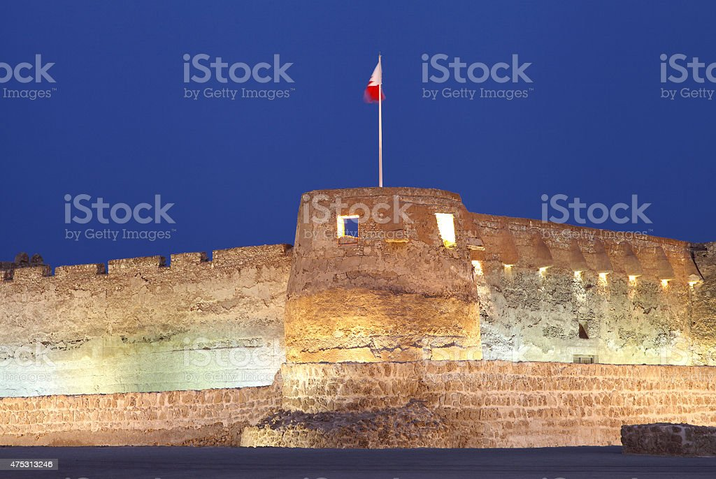 Closeup of Southern tower of Arad Fort during blue hours stock photo