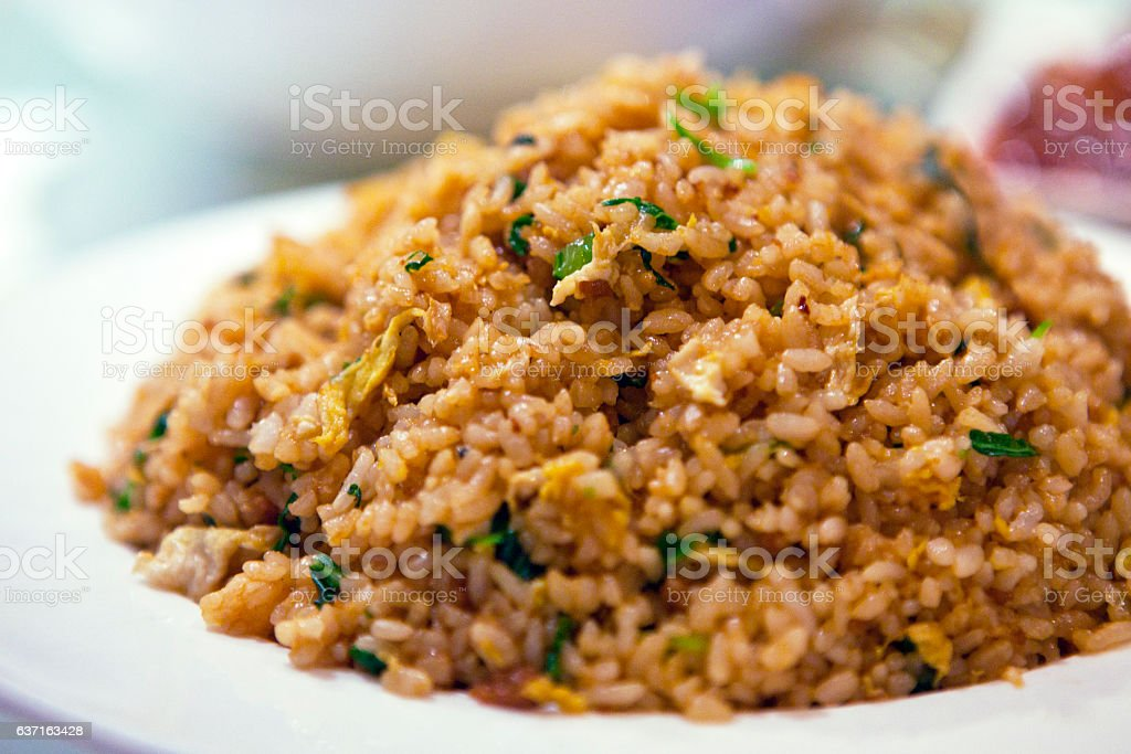 Close-up of soy sauce fried rice stock photo