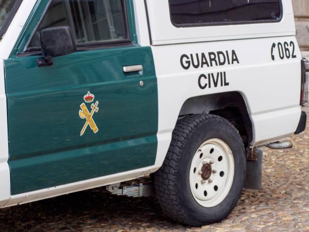 Close-up of Spanish civil guard patrol truck, Barcelona, Spain stock photo