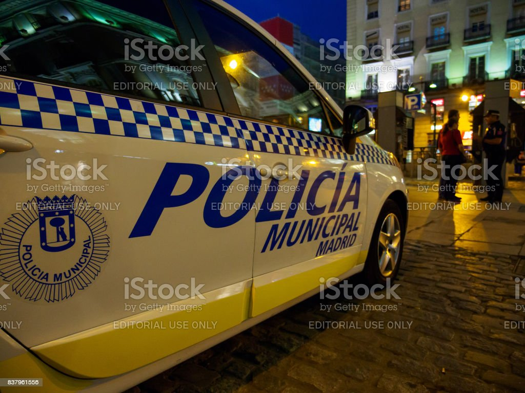 Closeup Of Spanish Police Car Stock Photo & More Pictures of