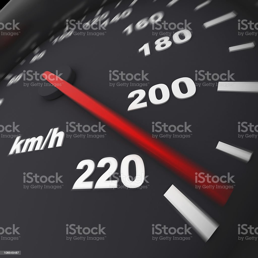 Close-up of speedometer showing 220km/h royalty-free stock photo