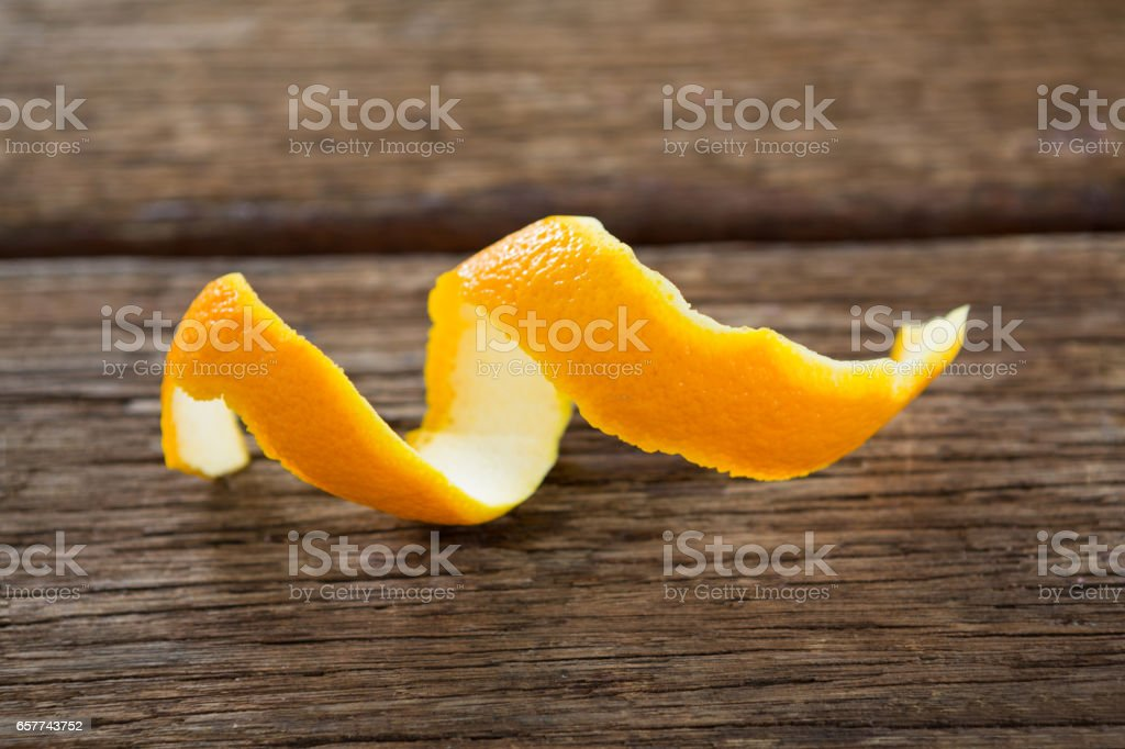 Close-up of spiral orange peel stock photo