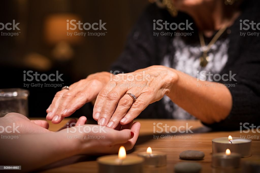 Close-up of spiritualistic seance stock photo
