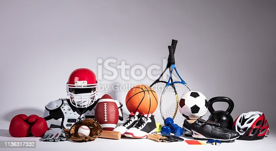 istock Close-up Of Sport Balls And Equipment 1136317332