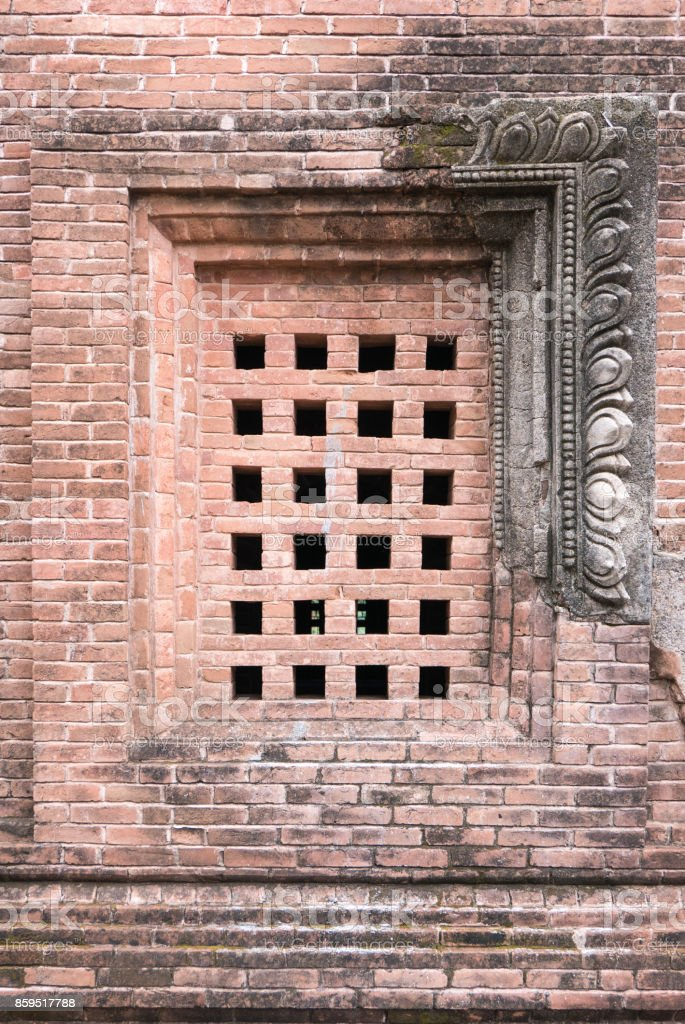 Close-Up of Square Window, Unknown Temple, Bagan, Myanmar (Burma) stock photo