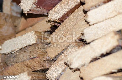 stacked chopped firewood