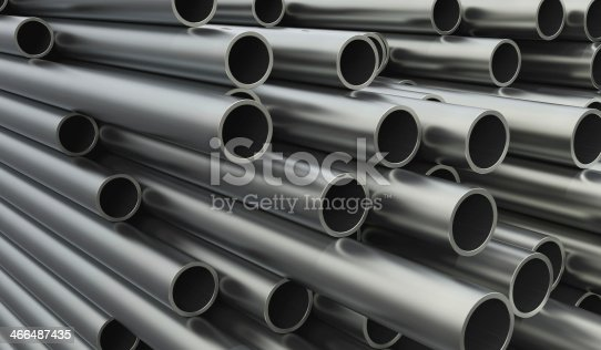 istock Close-up of stacked metal pipes of varying lengths 466487435