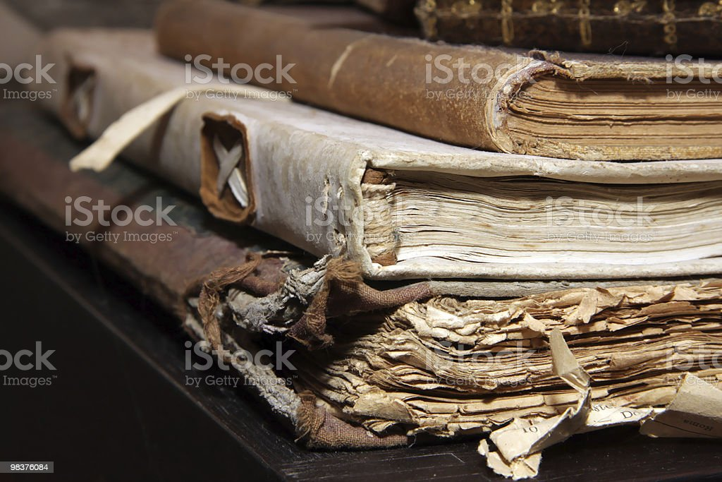 Closeup of stacked old books royalty-free stock photo