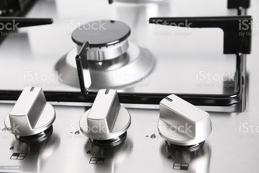 Close-up of stainless steel element gas burner stock photo
