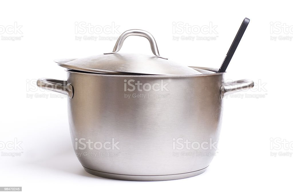 Closeup of stainless steel pot isolated on white background stock photo