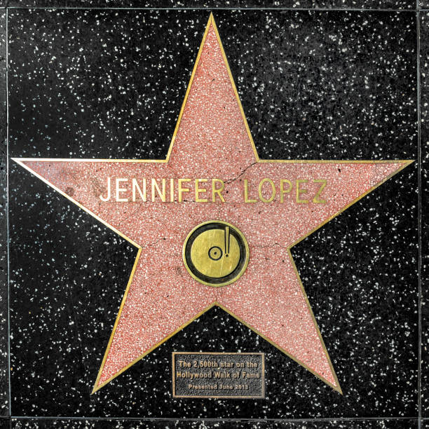 closeup of Star on the Hollywood Walk of Fame for jennifer lopez Los Angeles, USA - March 17, 2019: closeup of Star on the Hollywood Walk of Fame for jennifer lopez. hollywood boulevard stock pictures, royalty-free photos & images