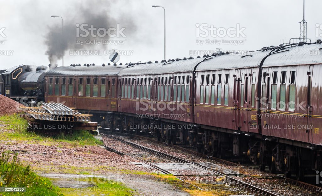 Close-up of steam locomotive parked at at Mallaig train station, Scotland stock photo