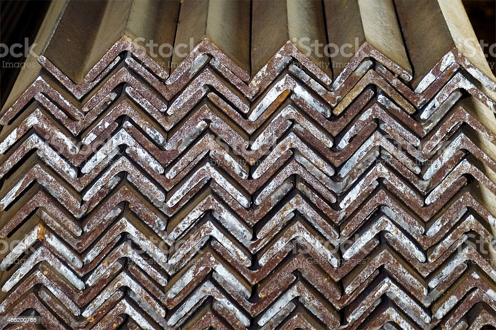 Closeup of Steel Galvanized Angles Bunched Together stock photo