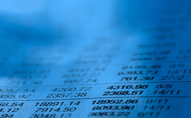 Close-up of stock market data list Stock Market Data bank statement stock pictures, royalty-free photos & images