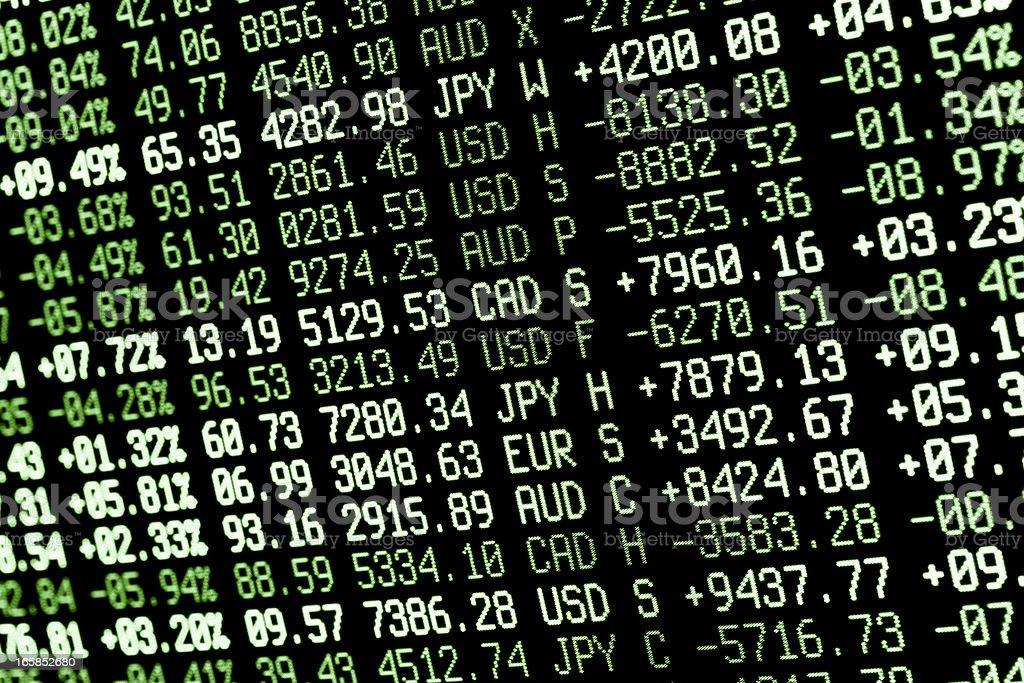 Close-up of stock market screen with figures in green tones stock photo